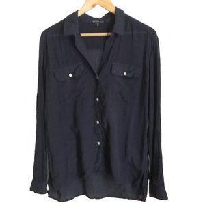 JAMES PERSE Dark / Blue High-Low Silk Shirt, sz M